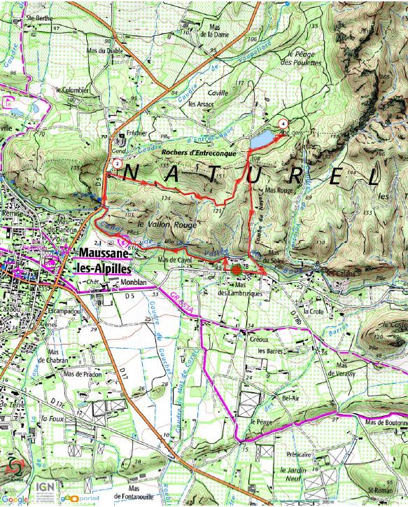 Carte randonnée Maussane