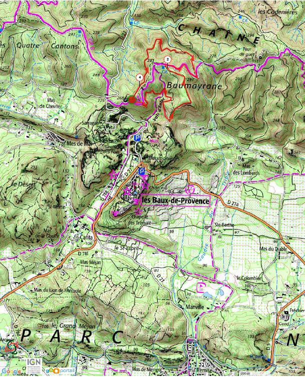 Carte randonnée Baumeyrane