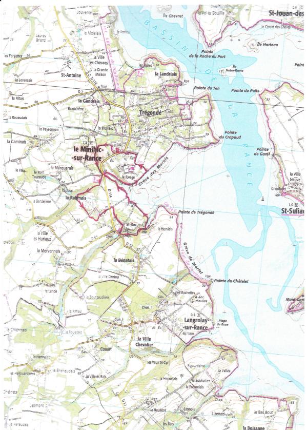 Carte randonnée Le Minihic