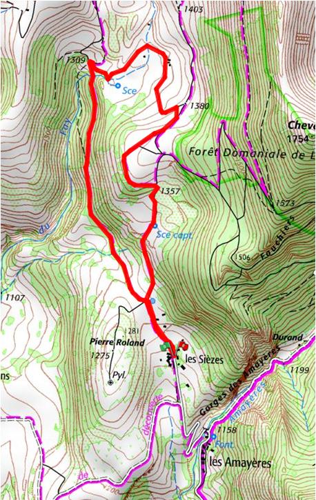 Carte randonnée Les Sièzes